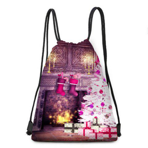 Unique Fireplace and Christmas Tree Print Drawstring Backpack