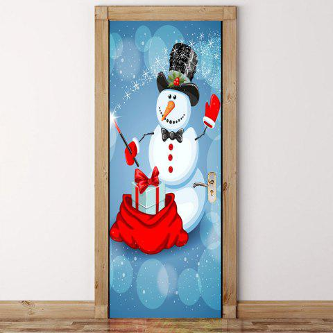 Trendy Snowman Magician Pattern Environmental Removable Door Stickers