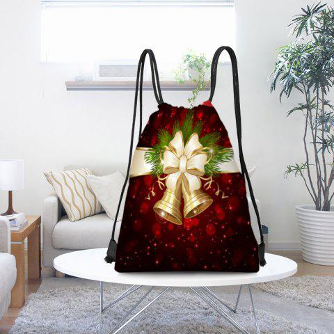 Affordable Christmas Bells Pattern Candy Gift Drawstring Storage Bag