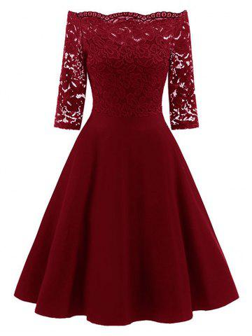 Lace Insert Off The Shoulder Vintage Flare Dress - Wine Red - M