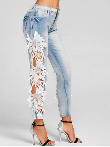 Trendy Hollow Out Lace Insert Skinny Jeans