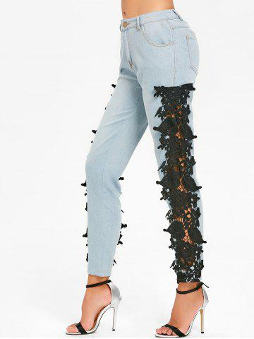 Cheap Light Wash Lace Insert Skinny Jeans