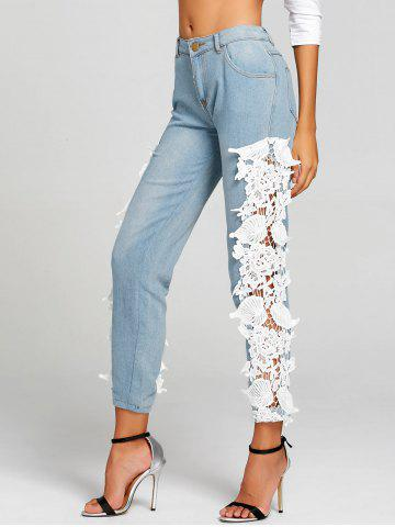 Sale Light Wash Lace Insert Skinny Jeans