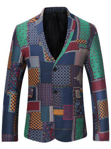 Chic Lapel Single Breasted Patchwork Linen Blazer