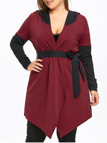 Outfit Plus Size Hooded Two Tone Coat