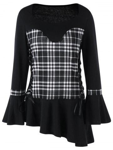 Lace Up Plaid Asymmetric Top