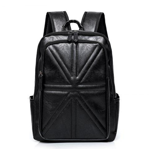 Black Pu Leather Stitching Quilted Backpack | RoseGal.com : leather quilted backpack - Adamdwight.com