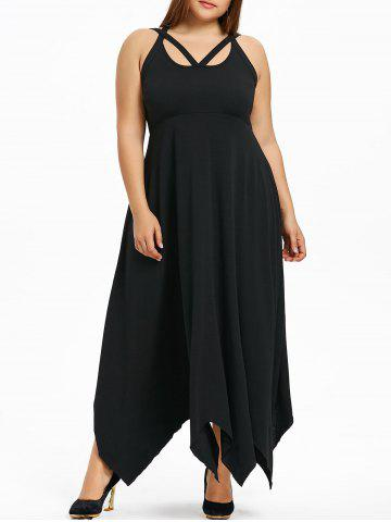 Fashion Plus Size Lace Up Handkerchief Maxi Dress