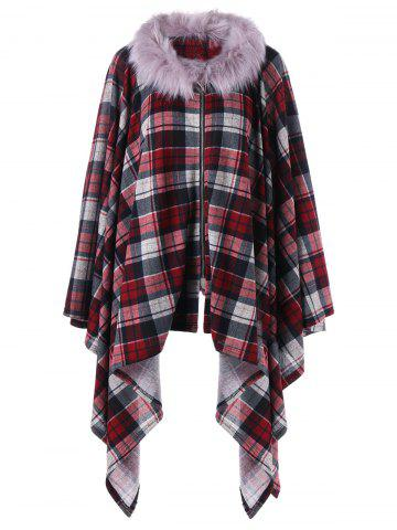 Unique Plus Size Plaid Faux Fur Coat