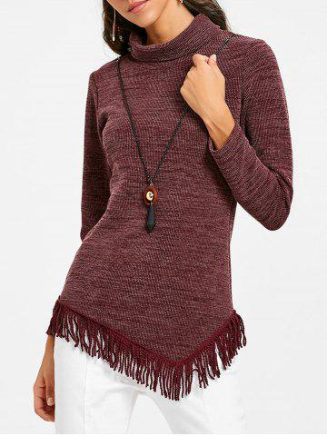 Affordable Asymmetrical Fringed High Neck Tunic Sweater