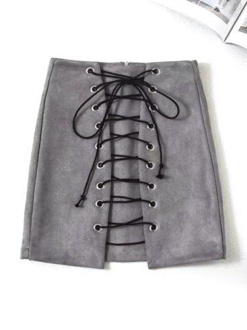 Chic Faux Suede Mini Lace Up Skirt