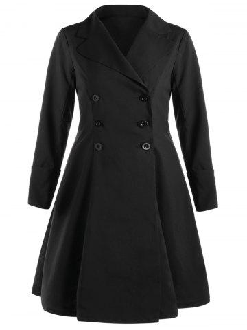 Discount Plus Size Lace Up Ruffle Coat