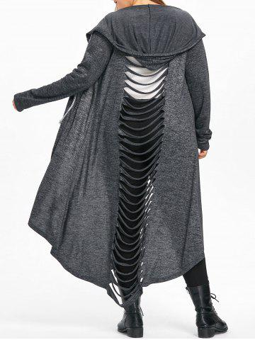 Shops Plus Size Hooded Marled Ladder Shredding Coat