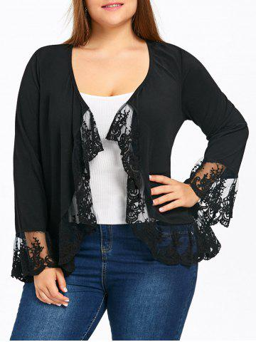 Store Plus Size Flare Sleeve Lace Trim Open Front Jacket