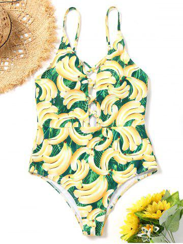 Online Banana Print Strappy One Piece Swimsuit