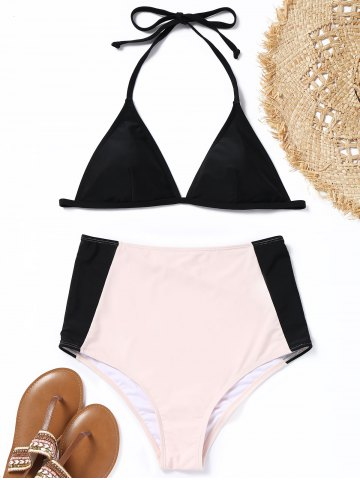 Cheap Two Tone Halter High Waisted Bikini Set