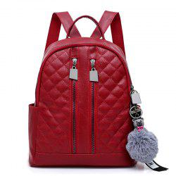 PU Leather Pompom Quilted Backpack -