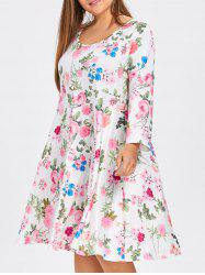 Robe Patineuse Florale Grande Taille avec Manches -