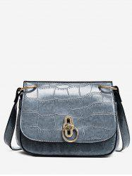 Embossing Metal Faux Leather Crossbody Bag -