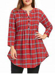 Plus Size Plaid Pintuck Tunic Shirt -