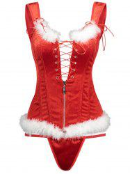 Lace-up Christmas Feathers Trim Corset Vest -
