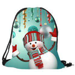 Christmas Snowman Pattern Drawstring Candy Storage Backbag - Colorful
