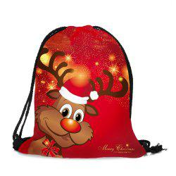 Drawstring Christmas Elk Printed Candy Storage Backbag -