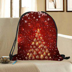 Snowflakes Balls Christmas Tree Pattern Drawstring Candy Storage Bag -