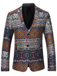 Lapel Single Breasted Tribal Print Linen Blazer -