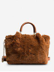 Chain Faux Fur Handbag With Strap -