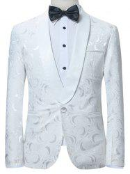 Shawl Collar One Button Jacquard Blazer -