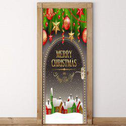 Snowscape Christmas Baubles Printed Door Stickers -