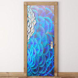 Peacock Opening Screen Pattern Door Art Stickers -