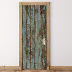 Wooden Door Pattern Door Art Stickers -