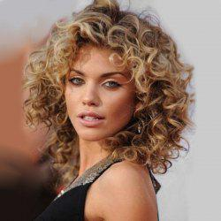 Medium Colormix Side Bang Fluffy Curly Human Hair Wig -