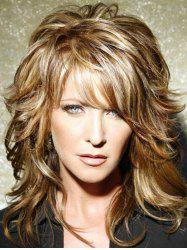 Medium Side Bang Layered Slightly Curly Colormix Human Hair Wig -