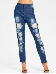 Lace Insert Skinny Distressed Jeans -