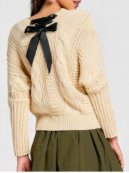 Lace Up Cable Knit Sweater -