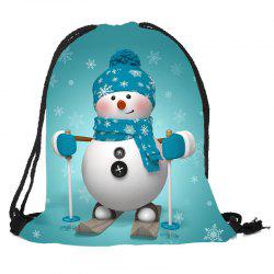 Snowman Pattern Christmas Candy Gift Bag Drawstring Backpack - Blue