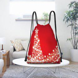 Snowflakes Christmas Tree Pattern Drawstring Candy Storage Backpack -