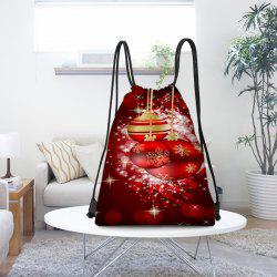 Christmas Hanging Baubles Pattern Candy Drawstring Storage Bag -