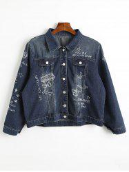 Embroidered Plus Size Denim Jacket -