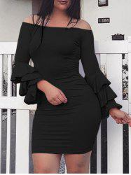 Off The Shoulder Layered Sleeve Bodycon Dress -