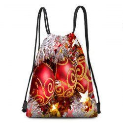 Christmas Balls Ornaments Print Drawstring Backpack -