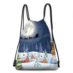 Christmas Snowy Night Print Drawstring Backpack -