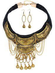 Vintage Fringed Ball Braid Necklace with Earrings -