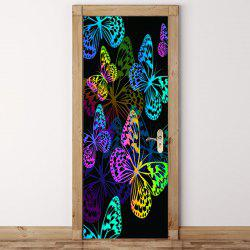Colorful Butterfly Pattern Door Cover Stickers -