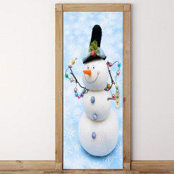 Snowman Snowflake Pattern Door Stickers -