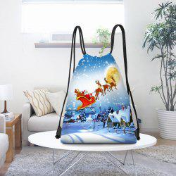 Snowy Night Christmas Sleigh Print Drawstring Candy Storage Bag - Blue And White