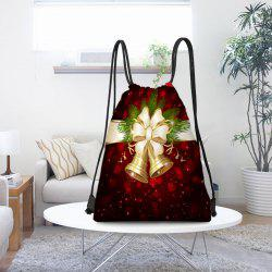 Christmas Bells Pattern Candy Gift Drawstring Storage Bag - Red And Golden
